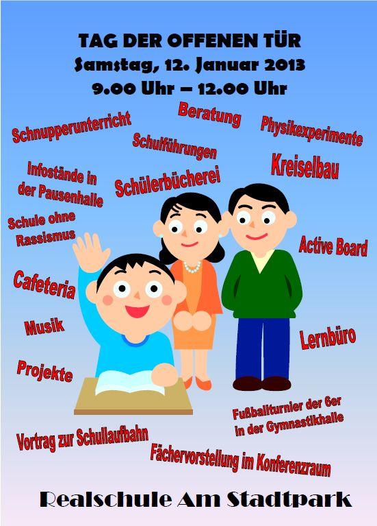 realschule am stadtpark » einladung zum tag der offenen tür, Einladung